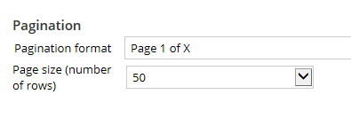 Pagination settings on  grid layout properties panel General tab