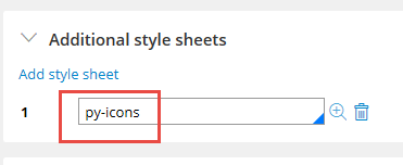 py-icons selected in the Add style sheet list