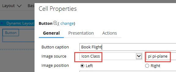 Icon Class and icon font name specified in button properties panel