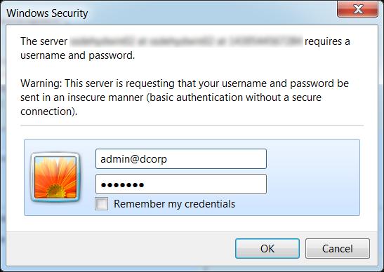 Entering login credentials in the Windows Security window