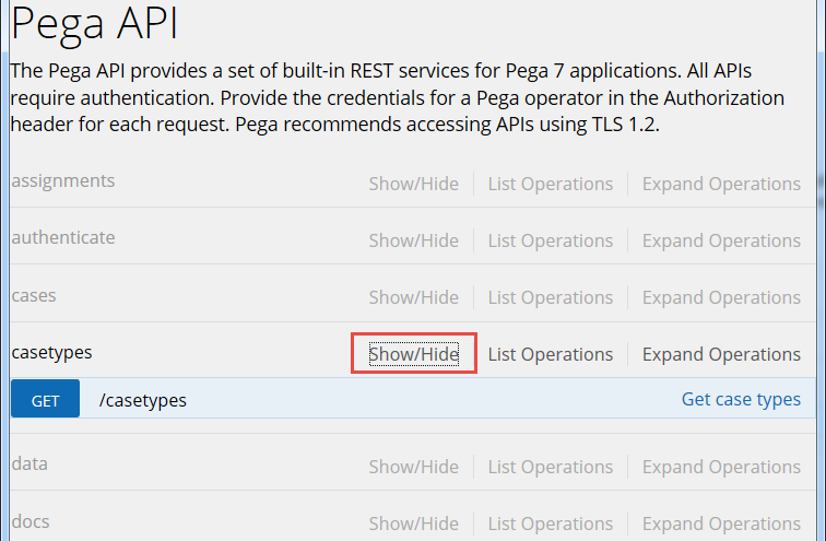 Displaying case types in the Pega API