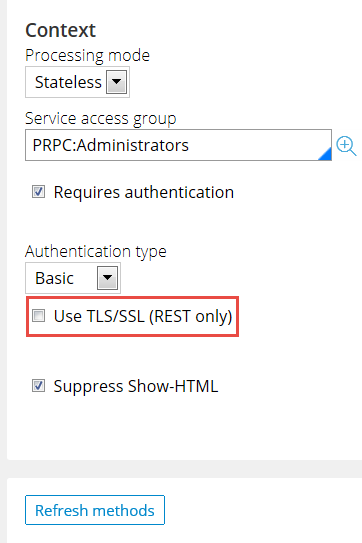 Clearing the check box for TLS/SLS to use HTTP authentication