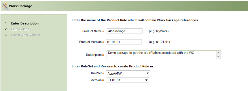 The Work Package utility screen for entering a description