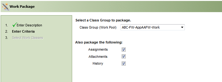 The workpage utility screen showing the criteria such as class group to package