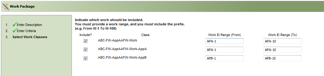 The work package utility showing the work classes to be included