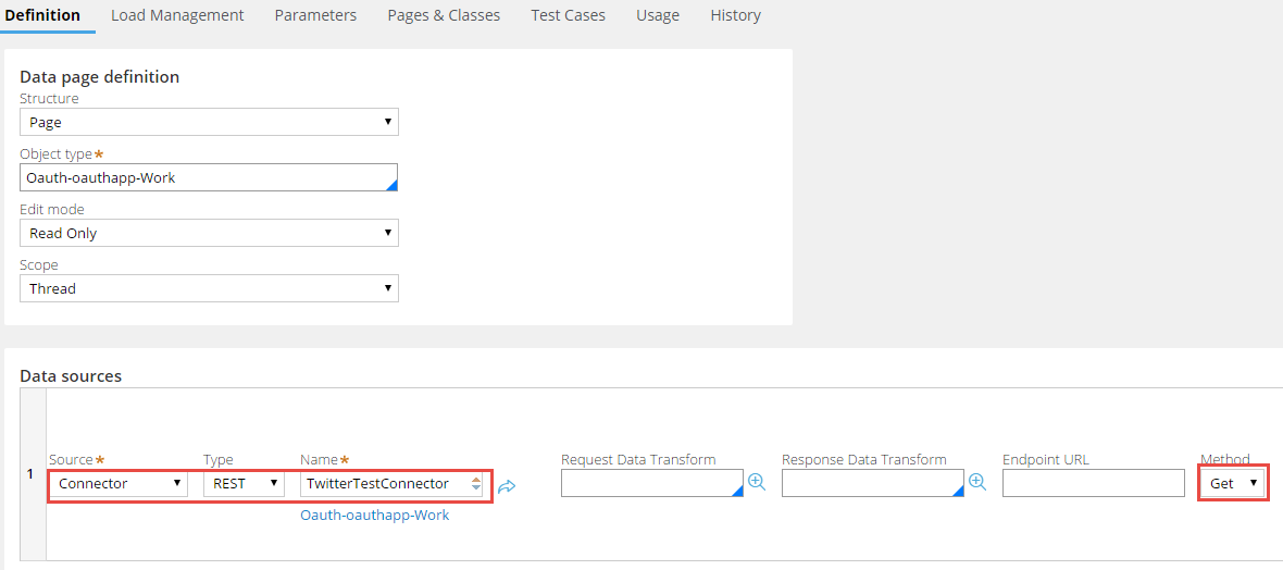 Completing the Definition tab of the Data Page rule form