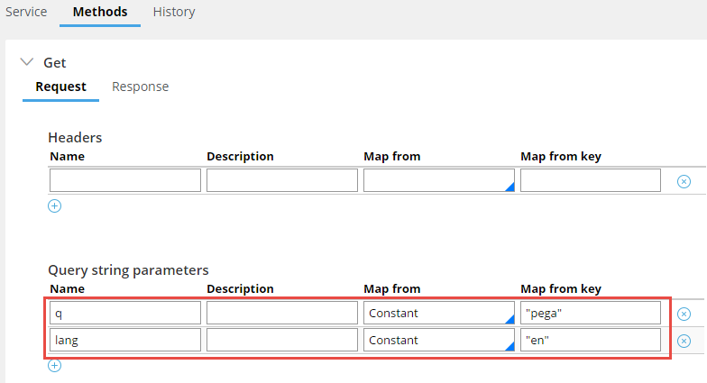 Configuring the request in a Connect REST rule form