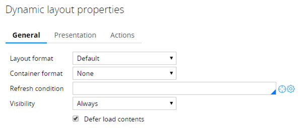 Dynamic layout properties dialog box with Defer load contents check box