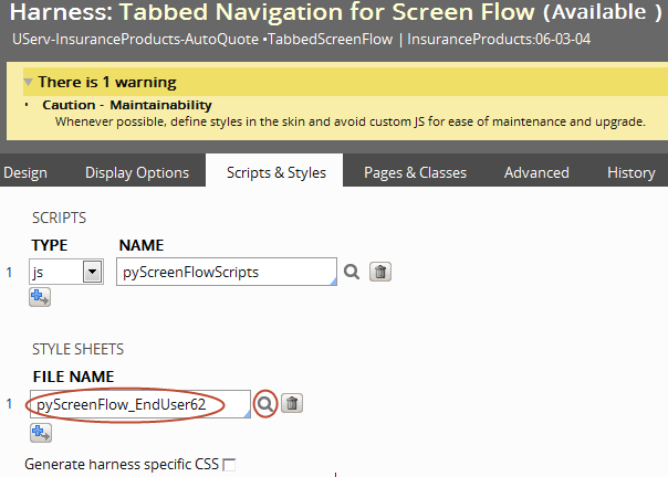 File name field on the Harness form contains a custom style