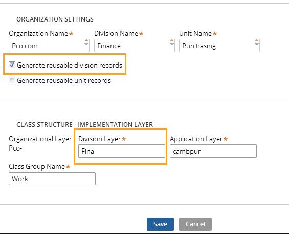 Specifying organization settings