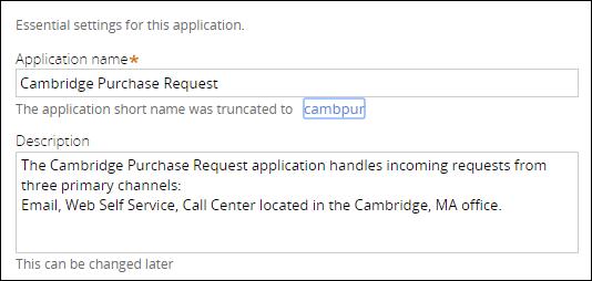 Specifying the application description