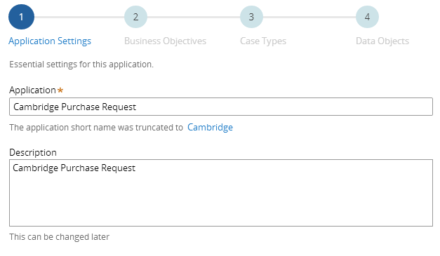 Step 1: Application Settings with Description field.