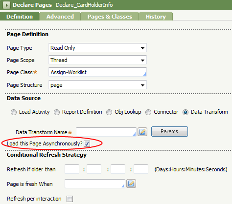 Declare Pages Definition tab