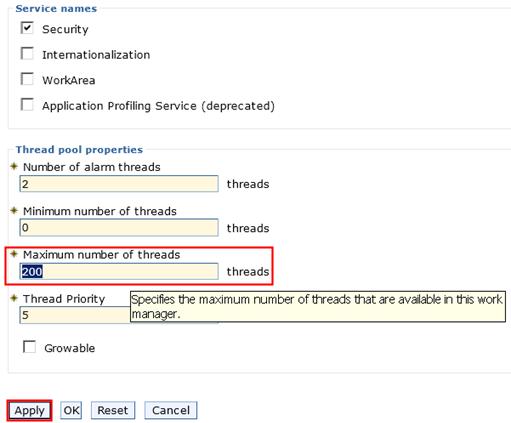 Specify maximum number of threads