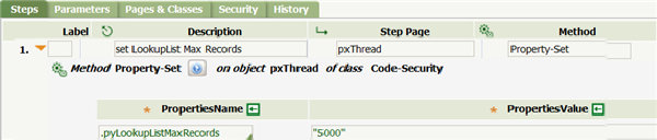 set LookupListMaxRecords property on pxThread page of activity