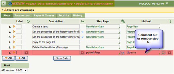 Update Interaction History activity Step 6
