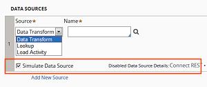 simulate data source checkbox checked