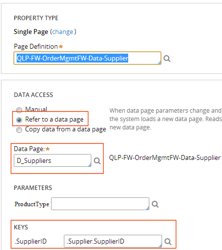 property refers to data page using a key