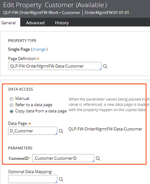 data access section on General tab of a property