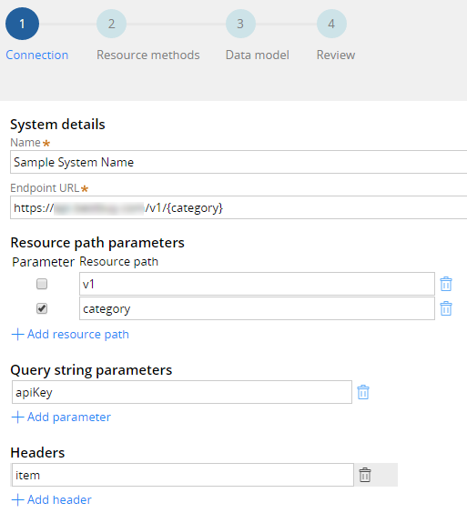 Updating resource path, query string parameters, and headers for a REST endpoint URL