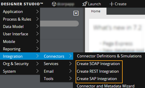 Opening the integration wizards from Designer Studio