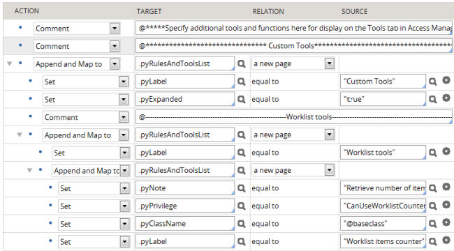 Custom tools section with Worklist tools subsection