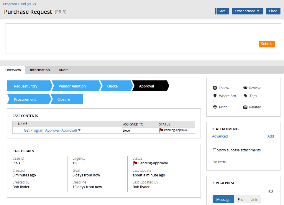 Case Stages, as they appear to end users i the Case Manager portal