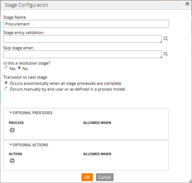 The Stage Configuration dialog box