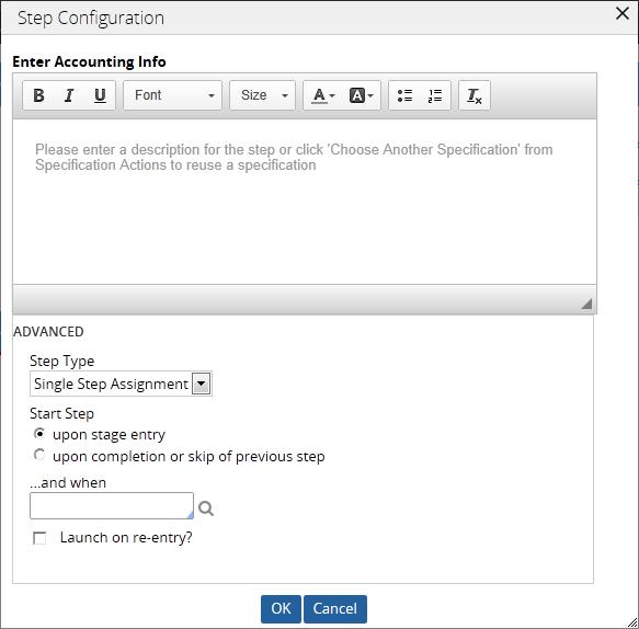 A sample Step Configuration dialog