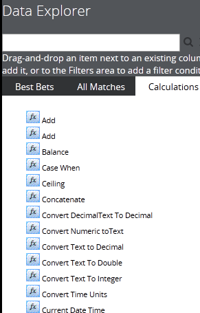 Calculations tab in Data Explorer