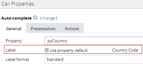 The Cell Properties dialog box with the Use property default check box