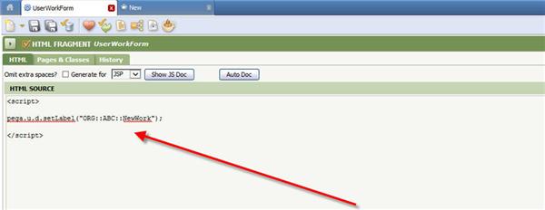 user work form html source setLabel