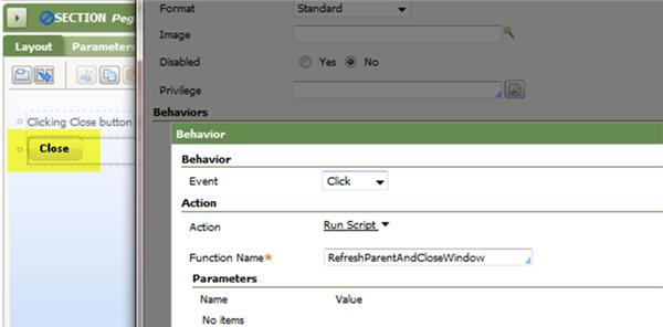 Control pxButton Close pop-up Behavior parameters