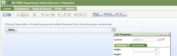 Section Layout with Control pxButton for Close pop-up