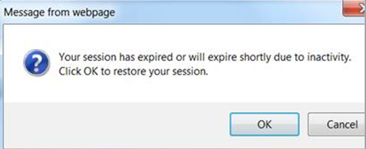 Message from webpage Your session has expired