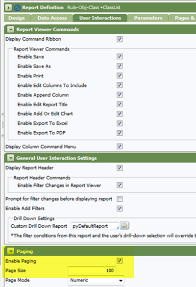 Report Definition, User Interaction, Paging, Enable Paging checkbox