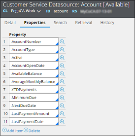 Properties tab on the Customer Service Datasource form