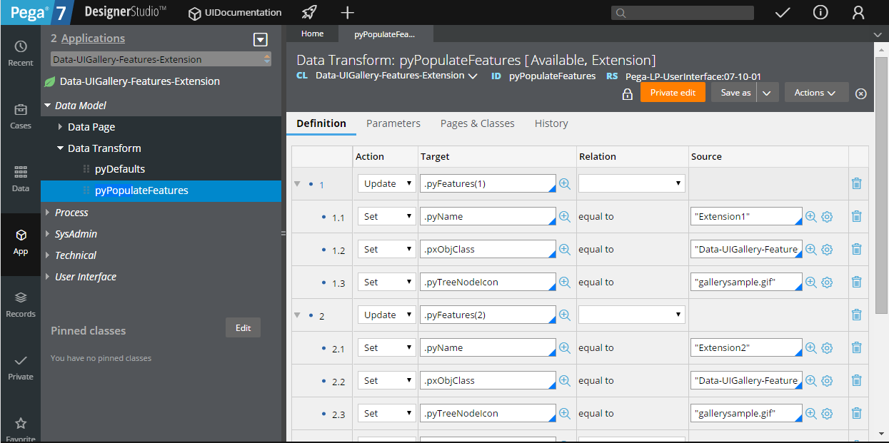 Creating a pyPopulateFeatures data transform and adding it to the application ruleset