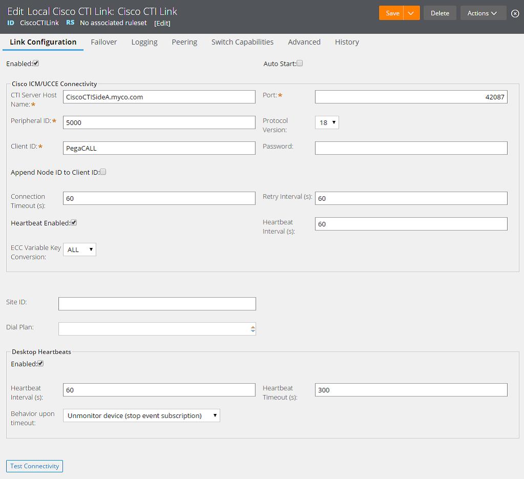 Configuring a Cisco ICM CTI link | Pega