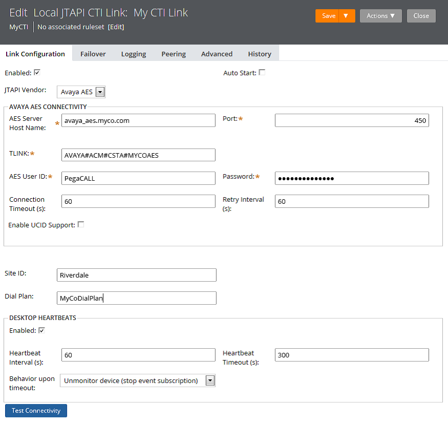 Link Configuration page for the Local JTAPI CTI Link