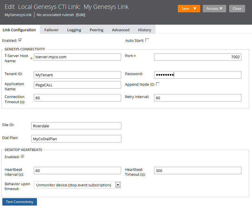 Link Configuration page for the Local Genesys CTI Link