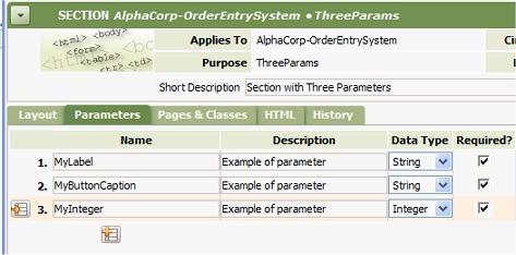 Parameter tab