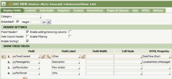 List View Display Fields tab