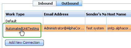 Outbound email gadget with accounts listed