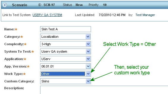 Using a custom work type in a scenario definition