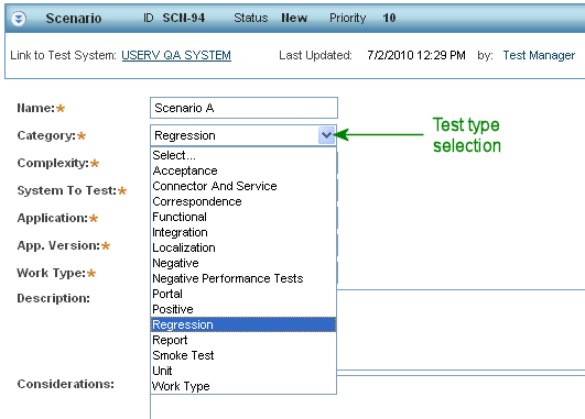 Test type selection when defining a scenario