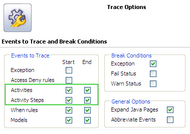 Trace Options - Activity settings