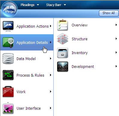 Business Analyst portal menus from Pega button