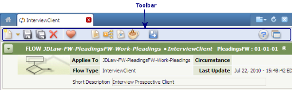 Toolbar for Decision Table rule form
