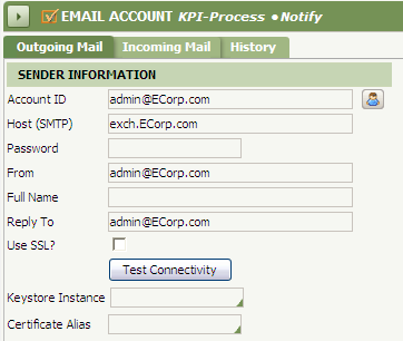 KPI-Process Email Account form